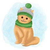 Vector Illustration Cat Cute Mascot Cartoon Style.