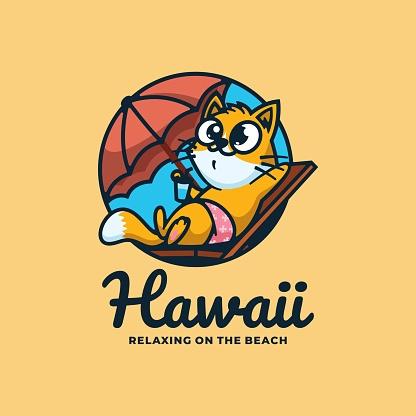 Vector Illustration Cat Hawaii Simple Mascot Style.