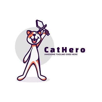 Vector Illustration Cat Hero Simple Mascot Style.