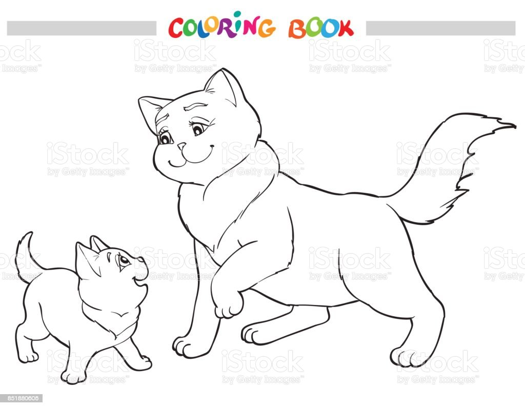 - Vector Illustration Cat Mother With Kitten Coloring Book Stock Illustration  - Download Image Now - IStock