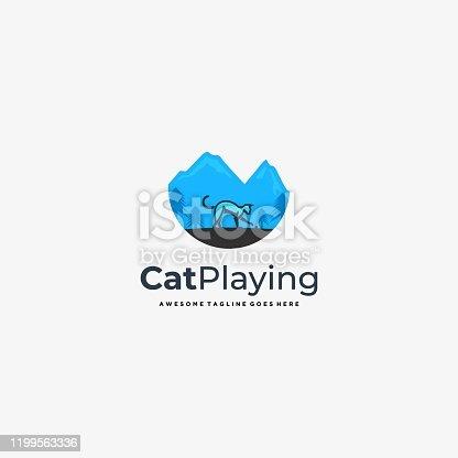 Vector Illustration Cat Plying With Landscape Vintage Badge