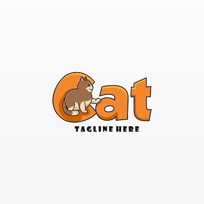 Vector Illustration Cat Simple Mascot Style.