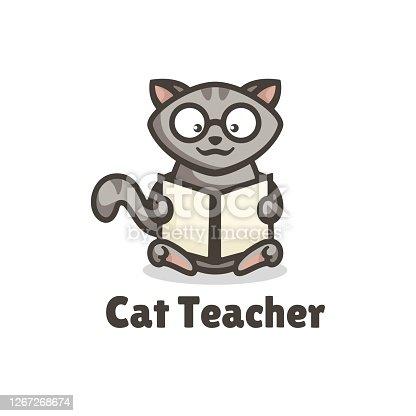 istock Vector Illustration Cat Teacher Simple Mascot Style. 1267268674