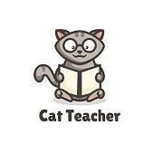 Vector Illustration Cat Teacher Simple Mascot Style.