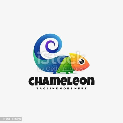 Vector Illustration Chameleon Gradient Colorful Style.