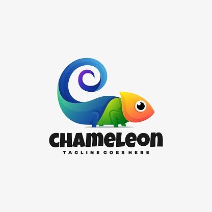 Vector Illustration Chameleon Gradient Colorful Style.
