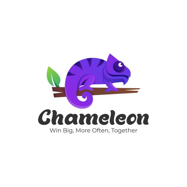 Vector Illustration Chameleon Gradient Colorful Style. Vector Illustration Chameleon Gradient Colorful Style. reptiles stock illustrations