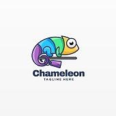 Vector Illustration Chameleon Simple Mascot Style.