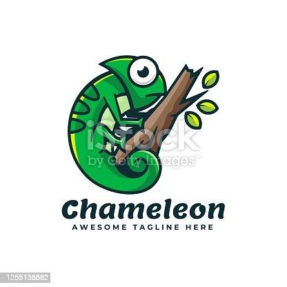 istock Vector Illustration Chameleon Simple Mascot Style. 1255138882