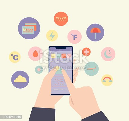 istock Vector illustration. Character using weather app in smartphone. 1204241919
