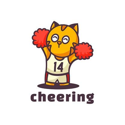 Vector Illustration Cheering Mascot Cartoon Style.