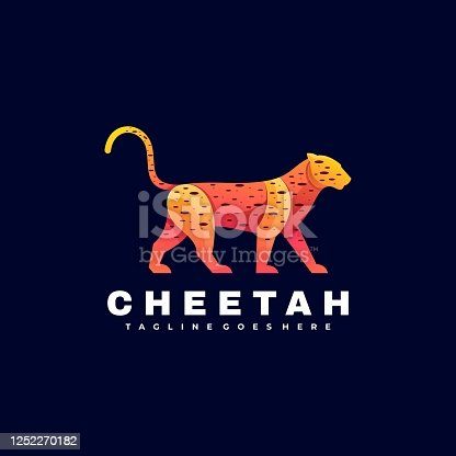 Vector Illustration Cheetah Gradient Colorful Style.