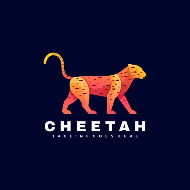 Vector Illustration Cheetah Gradient Colorful Style. Vector Illustration Cheetah Gradient Colorful Style. carnivorous stock illustrations