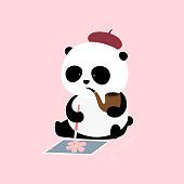 Vector Illustration: Cherry Blossom Festival - A cute cartoon giant panda artist is sitting on the ground, holding a tobacco pipe and working on a Japanese sakura / oriental cherry painting.