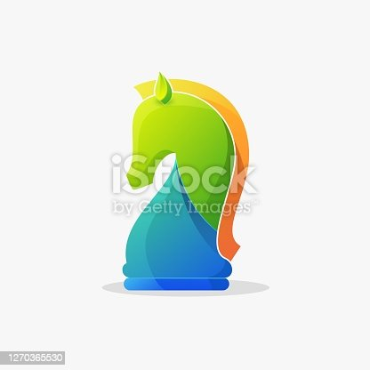 istock Vector Illustration Chess Horse Gradient Colorful Style. 1270365530