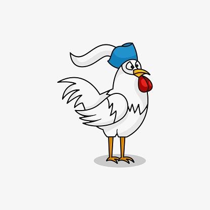 Vector Illustration Chicken Simple Mascot Style.