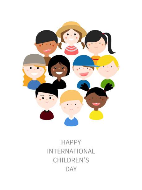 stockillustraties, clipart, cartoons en iconen met vectorillustratie: kinderen met verschillende nationaliteiten, huid kleuren, kleding in een cirkel. - kinderdag