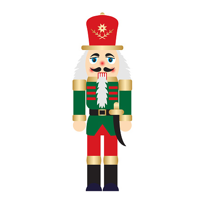 Vector illustration christmas nutcracker toy soldier traditional figurine isolated on white background
