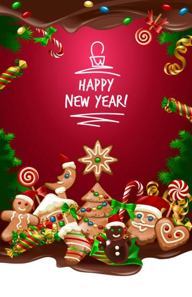 vector illustration christmas sweet background - weihnachtsschokolade stock-grafiken, -clipart, -cartoons und -symbole