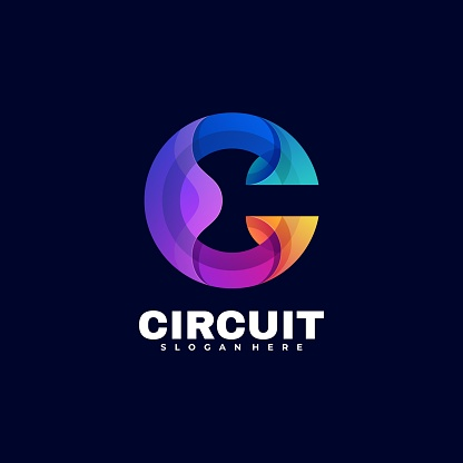 Vector Illustration Circuit Gradient Colorful Style.