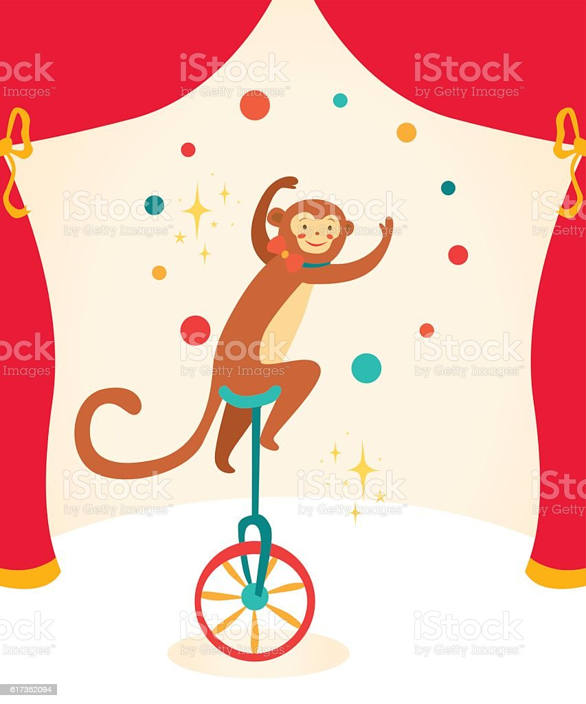 Vector Illustration Circus Monkey Card Concept Beautiful Background