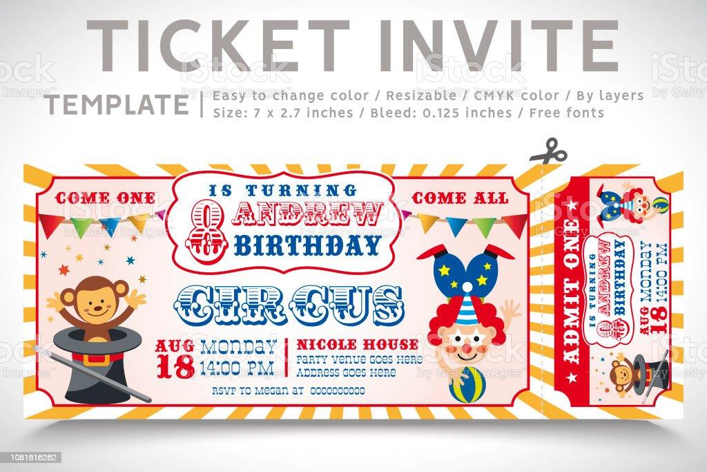 A Vector Illustration Circus Party. Ticket invitation birthday. Clown, Monkey, Lion, Dolphin, Tiger, and balls. VectoR vector art illustration