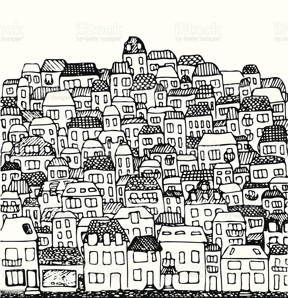 vector illustration: city, real estate and houses vector art illustration