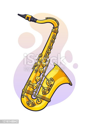 istock Vector illustration. Classical music wind instrument saxophone. Blues, jazz, ska, funk or orchestral equipment. 1216148942