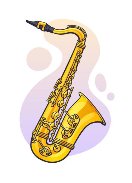 stockillustraties, clipart, cartoons en iconen met vectorillustratie. klassieke muziek blaasinstrument saxofoon. blues, jazz, ska, funk of orkestrale apparatuur. - saxofoon