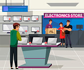 Vector flat Illustration of electronic store. Couple buys household appliance, assistant checkout and packaging. Man in shop department, shelves gadgets assortment. Discount, retail sales tech product