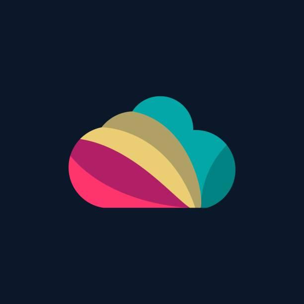 bildbanksillustrationer, clip art samt tecknat material och ikoner med vektor illustration moln färgglad stil. - komposition