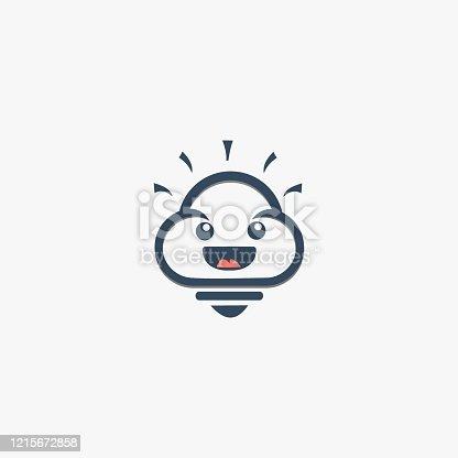 Vector Illustration Cloud Smart cute cartoon.