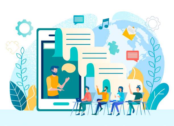vector illustration coaching, training, kommunikation - tablet mit displayinhalt stock-grafiken, -clipart, -cartoons und -symbole
