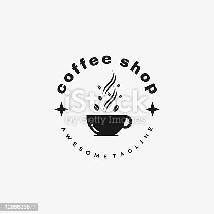 Vector Illustration Coffee Shop Silhouette Style.