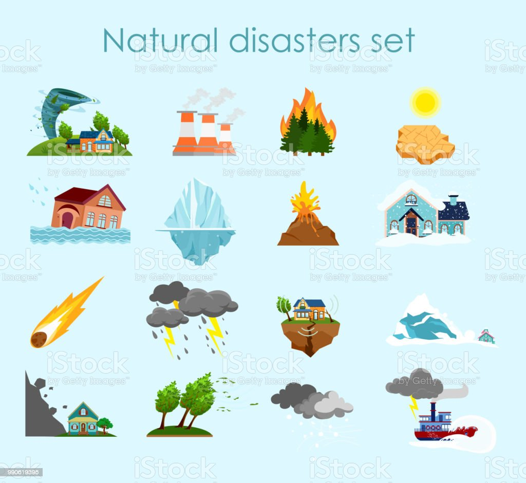 Vector illustration collection of color icons natural disasters on light blue background, set of elements storm, fire and hurricane.