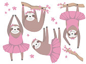 Vector illustration collection of isolated funny girlish cartoon style ballerina sloths with pink tutus