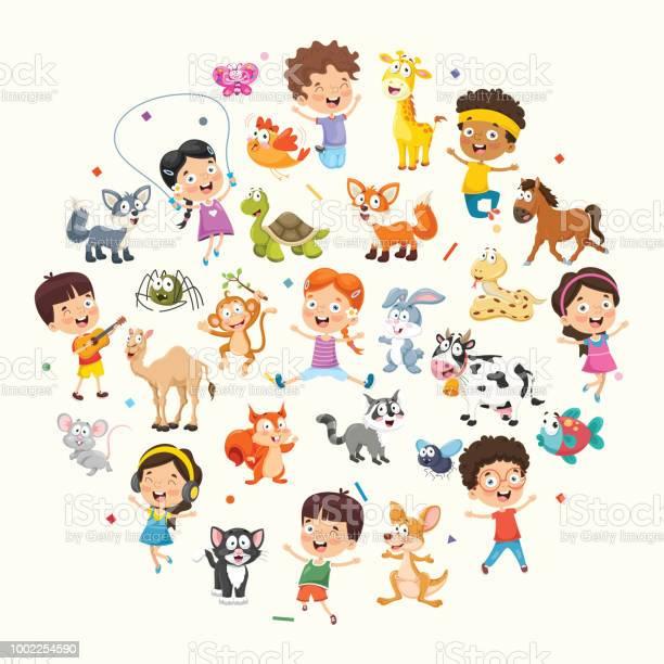 Vector illustration collection of kids and animals vector id1002254590?b=1&k=6&m=1002254590&s=612x612&h=1pxhpinxgwaz6slaridyzek792g8hmg4p0zlbk6vbma=