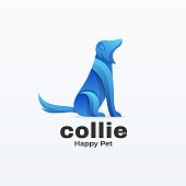 Vector Illustration Collie Gradient Colorful Style.