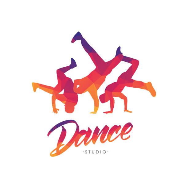 bildbanksillustrationer, clip art samt tecknat material och ikoner med vektor illustration: färg emblem mall för dance studio med hand bokstäver och silhuetter av break dansare. - street dance
