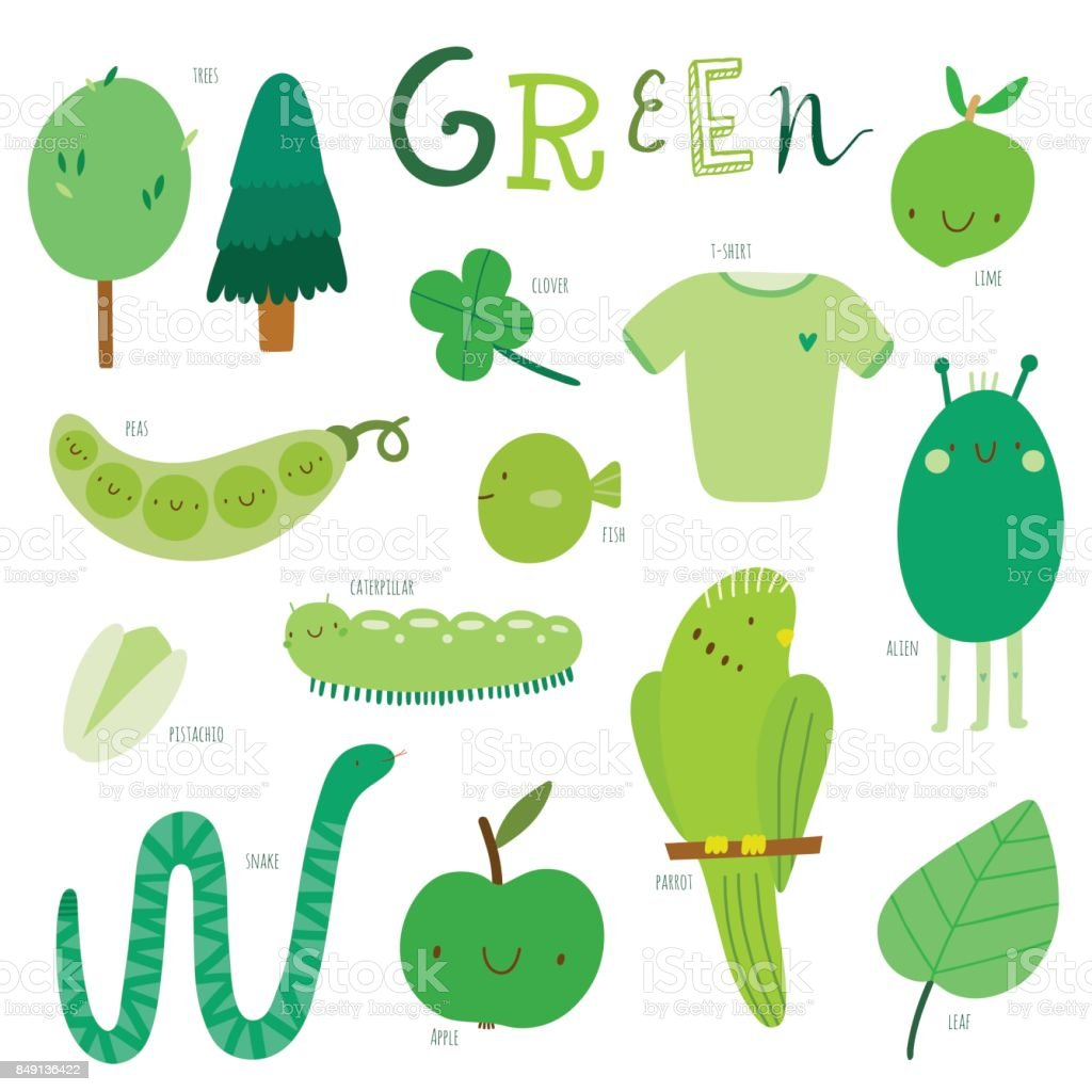 Vector Illustration Color Learning For Kids Green Color Stock Vector ...