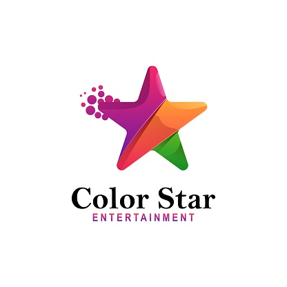 Vector Illustration Color Star Gradient Colorful Style.
