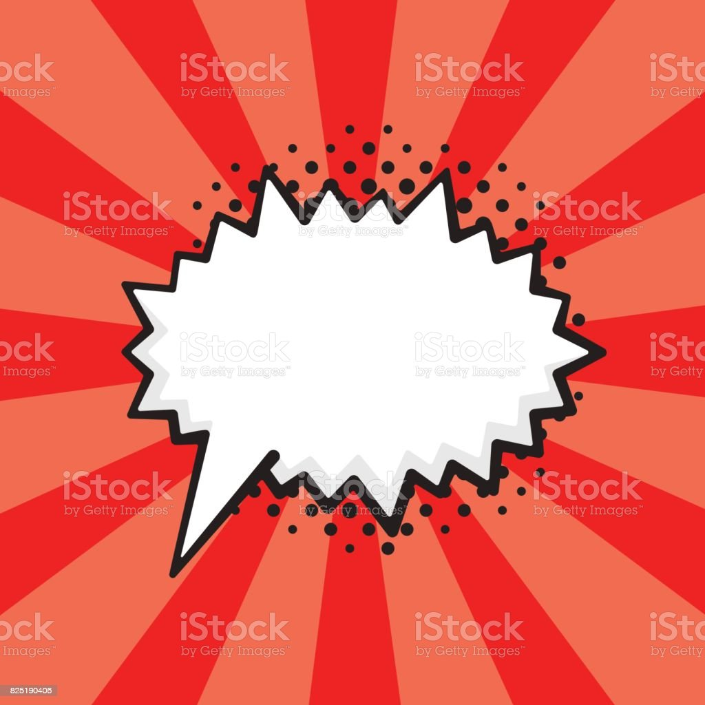 Vector illustration. Comic speech bubble of scream prickly shape in pop art style. Empty element with contour for your dialogs. Isolated on red background with rays vector art illustration