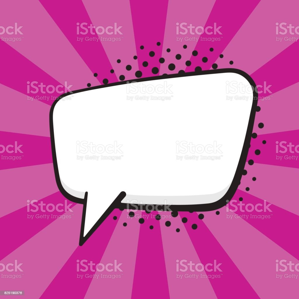 Vector illustration. Comic speech bubble of talk rectangular shape in pop art style. Empty element with contour for your dialogs. Isolated on purple background with rays vector art illustration
