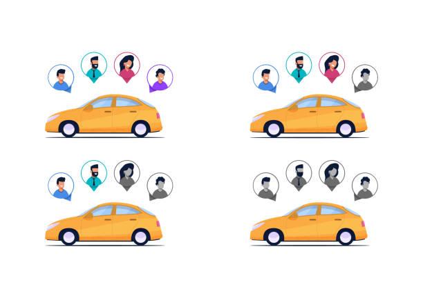 illustrations, cliparts, dessins animés et icônes de vector illustration exhaustivité voitures passagers - covoiturage
