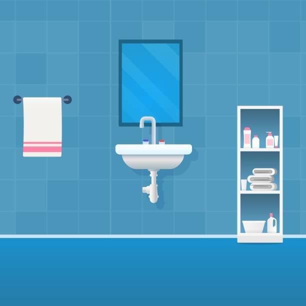 vector illustration konzept badezimmer interieur - spiegelfliesen stock-grafiken, -clipart, -cartoons und -symbole