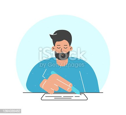 Vector illustration concept. Flat cartoon adult man sits at the table, holds pen and wrie text on white paper. Isolated design with character signed contract, report or mortgage document to get a loan.