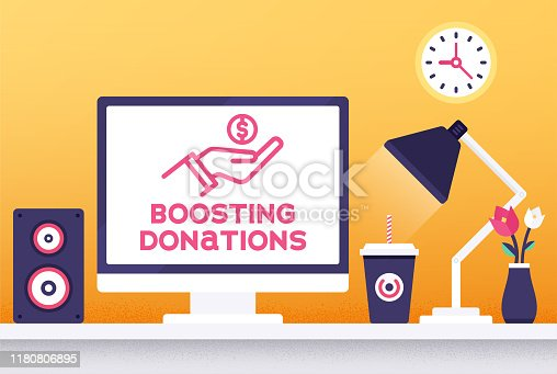 Flat design boosting donations vector illustration for business presentations, web pages, corporate reports, layout templates or mobile app designs.