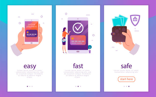 vector illustration concept for easy, fast and safe mobile money payments with human hand holding smartphone and woman at big device paying online. - płacić stock illustrations