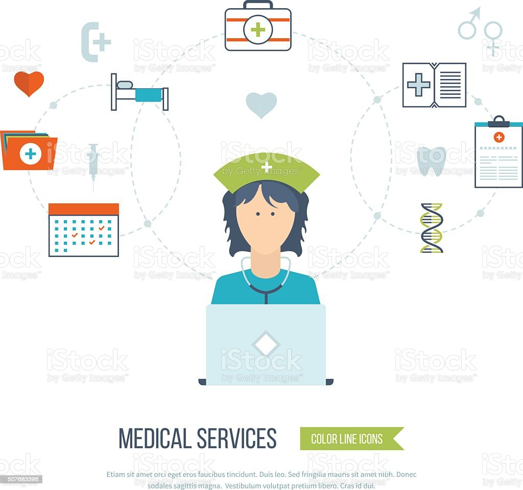 Vector illustration concept for healthcare, medical help and...