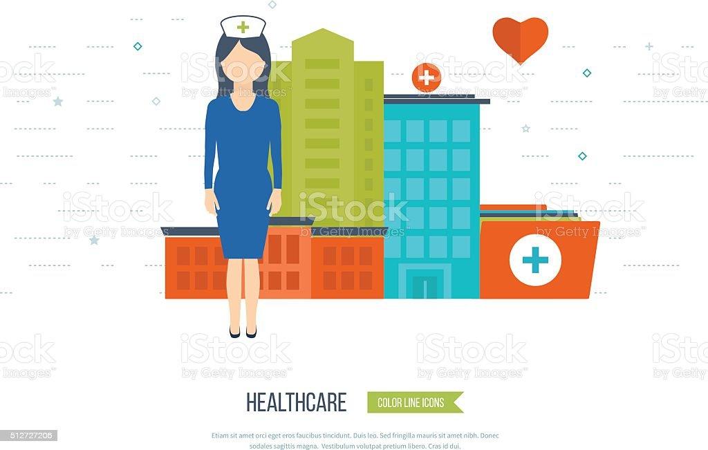 Vektor-illustration Konzept für das Gesundheitswesen und medizinische Behandlung und Forschung. – Vektorgrafik